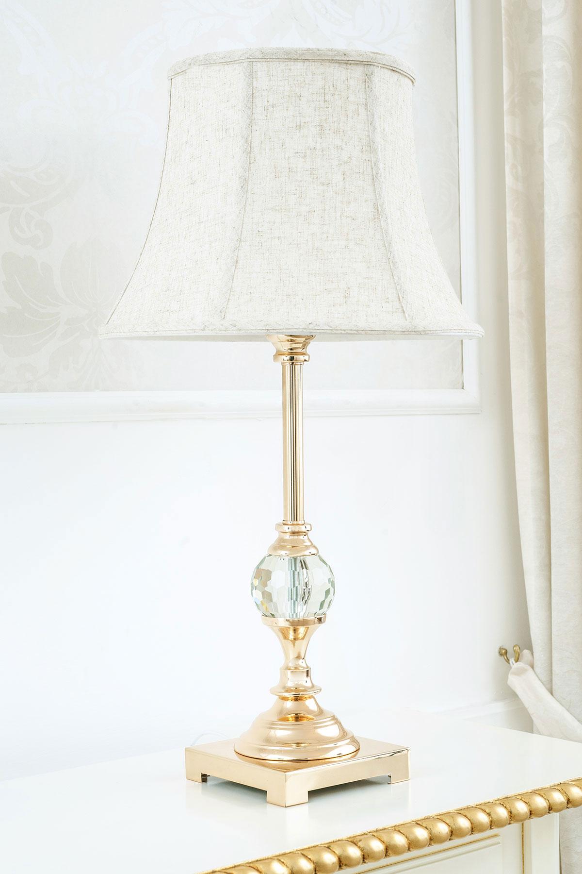 Dettagli su Lampada da tavolo Roxanne oro con sfera in cristallo abatjour classica paralume