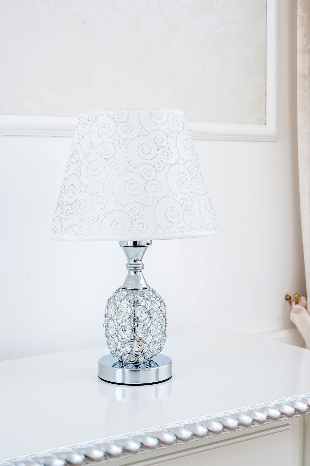 Dettagli su Lumetto Jacob argento con cristalli paralume tessuto 36 cm