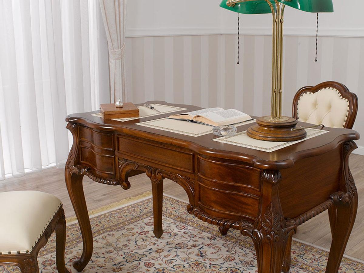 Scrivania Scrittoio Ministeriale Presidenziale Chippendale legno massello 180cm