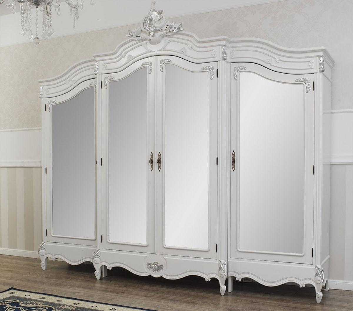 Armadi Laccati Bianchi dettagli su armadio julian stile barocco moderno bianco laccato e foglia  argento 4 porte 4 s