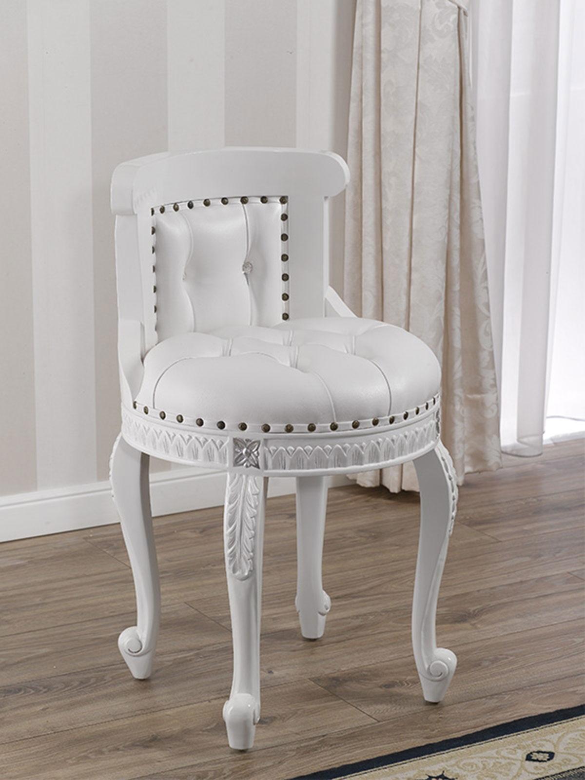 Poltroncina adeline stile barocco moderno pouf bianco for Arredamento stile barocco moderno