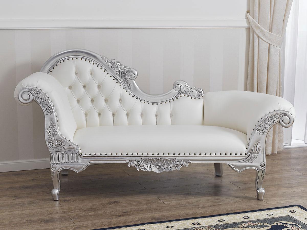 Divano Barocco Moderno.Dettagli Su Dormeuse Joana Stile Barocco Moderno Divano Chaise Longue Foglia Argento Ecopell