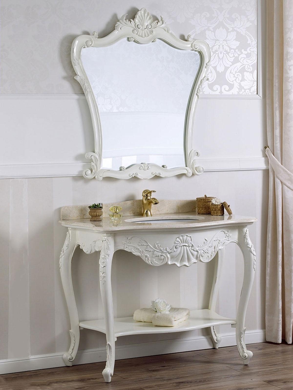 Arredo Bagno Shabby Chic dettagli su consolle e specchio eleonor stile shabby chic arredo bagno  bianco anticato marmo