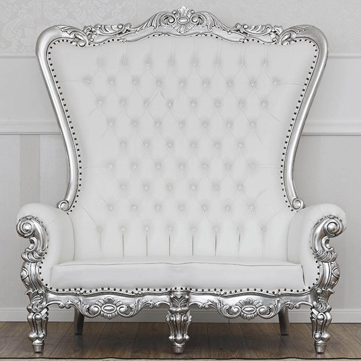 Divano regina stile barocco moderno foglia argento for Divano barocco