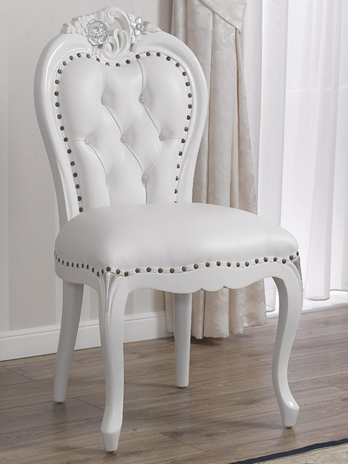 Details zu Poltrona Amalia stile Barocco Moderno sedia bianco laccato e  foglia argento ecop