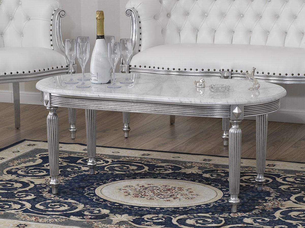 Tavolino da salotto isabelle stile barocco moderno foglia for Arredamento stile barocco moderno